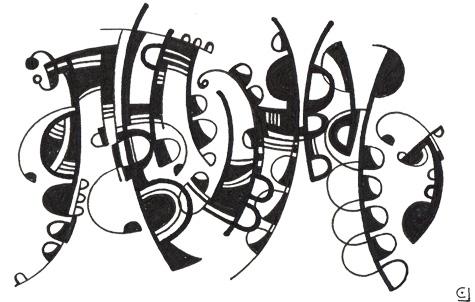 dancing black notes